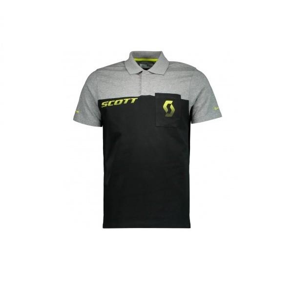 Scott Factory Team Co S/SL Polo Shirt - maglia manica corta grigia/nera/gialla | Mancini Store