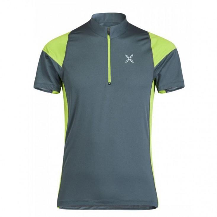 World Geo Zip T-Shirt Uomo Montagna Piombo Verde 2019