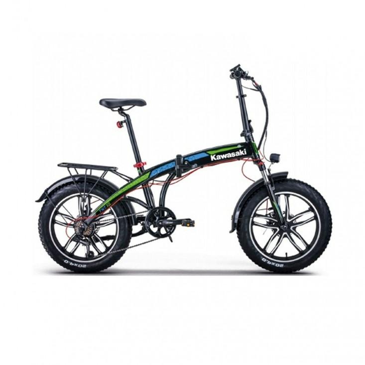 Kawasaki Bicicletta Fat Bike Pedalata Assistita E-Bike 250W Pieghevole